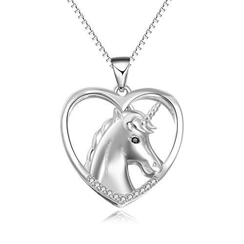 Einhorn Halskette Anhänger Sterling Silber Einhorn Schmuck Geschenk für Frauen, Mädchen, Kinder - Stück 3 Mutter-töchter-halskette,