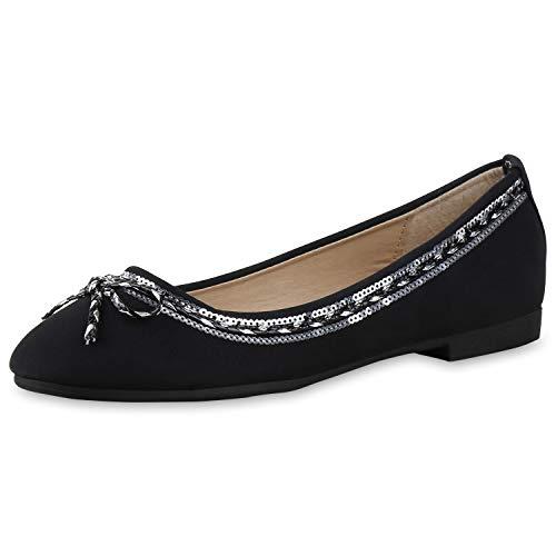 SCARPE VITA Damen Ballerinas Pailletten Metallic Flats Slipper Schuhe 165889 Schwarz 40 -