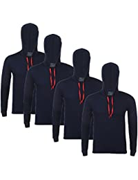 Feed Up Men's Hooded Cotton Tshirt Pack of 4