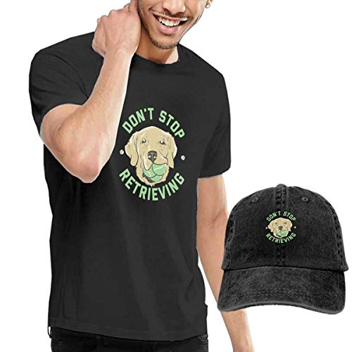 SOTTK Herren Kurzarmshirt Do Not Stop Retrieving Men's Short Sleeve T Shirt & Washed Adjustable Baseball Cap Hat