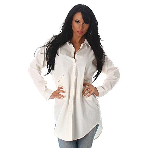 Damen Hemdkleid Chiffon Langarm Longshirt V Ausschnitt Blusenkleid Bluse Hemd elegant Weiß