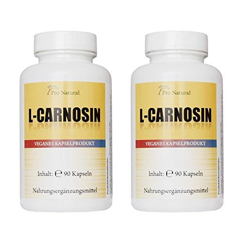 L-Carnosin 500mg reines Carnosin pro Kapsel 180 vegetarische Kapseln (2 Dosen a 90 Kapseln) -