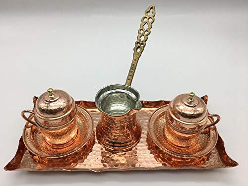 Sultans Palace Kaffeetassen und Kaffeekanne, türkisch, griechisch, arabisch Mokkaset in braun, Kaffeekanne und Kaffeetassen in Kupfer für Zwei Personen 10 Stück