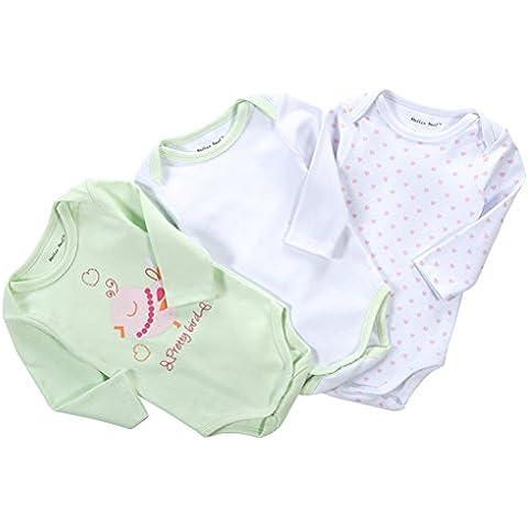 QHGstore 3pcs / set los colores claros de algodón envueltas largas del bebé de los mamelucos de las muchachas Ropa Rise 0-3