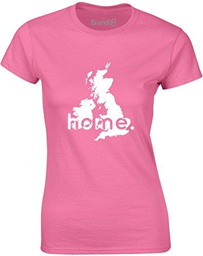 Brand88 - Home: UK, Gedruckt Frauen T-Shirt Azalee/Weiß
