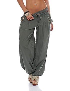 Huixin Mujer Pantalones Harem Primavera Otoño Anchos Casual Talla Grande Golpear Los Pantalones Color Sólido con...