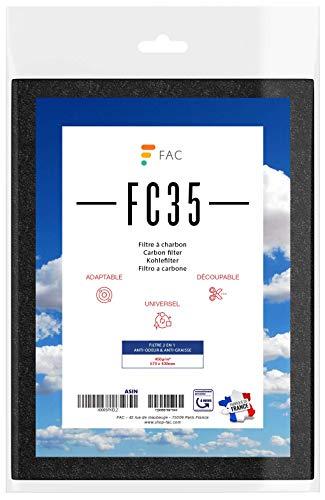 Fac FC35 - Filtre Universel de hotte au charbon actif 2 couches - anti graisses (partie blanche) anti odeurs (partie noire) à découper selon besoin - ...
