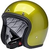 Casco Jet Aperto Biltwell Bonanza Giallo Metallic Sea Weed Approvato DOT Helmet Biker Look Stile Universale x Genere Custom Vintage retrò Anni 70 off-Road Street Taglia L