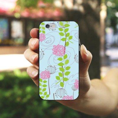 Apple iPhone 6 Housse Étui Silicone Coque Protection Fleurs Fleurs Motif Housse en silicone noir / blanc