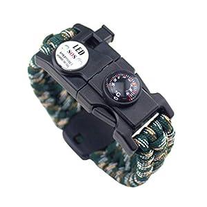 VORCOOL Paracord Armband Outdoor Survival Ausrüstung Kompass Schaber Mintium Flint (Berg Camouflage)