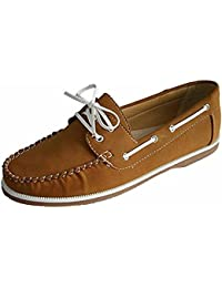 542eca2a5b5 Ladies Coolers Faux Nubuck Leather Loafer Lace Up Boat Deck Shoes Sizes 4 -  8 (