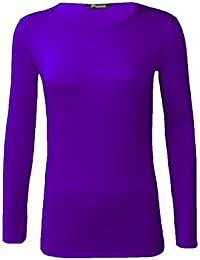 ee943fb2f Ladies Plain Stretch Fit Long Sleeve Womens T-Shirt Round Neck Basic Top  Plus Size