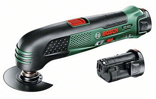 Preisvergleich Produktbild Bosch DIY Akku-Multifunktionswerkzeug PMF 10,8 LI , 2 Akku, Ladegerät, 2 Sägeblätter, Deltaschleifblatt-Set, Deltaschleifplatte (10,8 V, 2,0 Ah, Leerlaufdrehzahl  5.000 – 20.000 min-1)