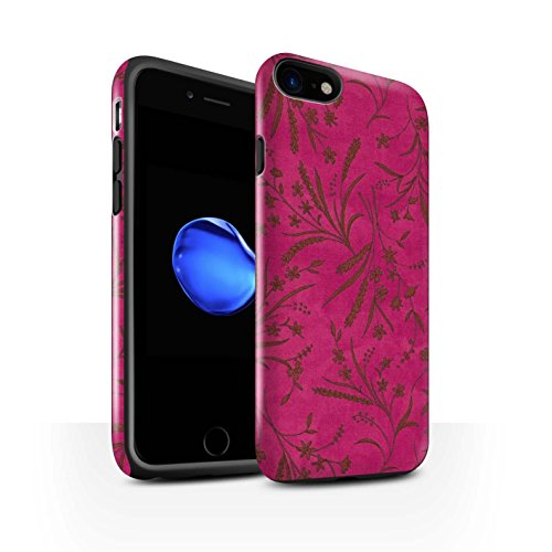 STUFF4 Glanz Harten Stoßfest Hülle / Case für Apple iPhone 8 / Grau Muster / Weizen Blümchenmuster Kollektion Rosa/Orange