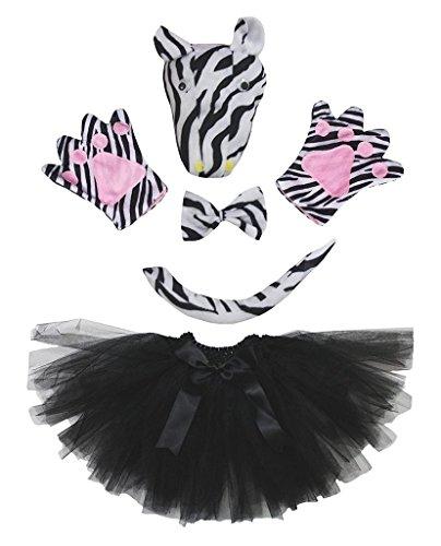 Petitebelle 3D-Stirnband Bowtie Schwanz Handschuhe Tutu 5pc Mädchen-Kostüm Einheitsgröße 3D ()