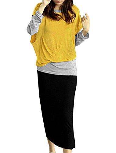 Haut à manches longues chauve-souris avec robe évasée Veste Jaune Taille XS Multicolore