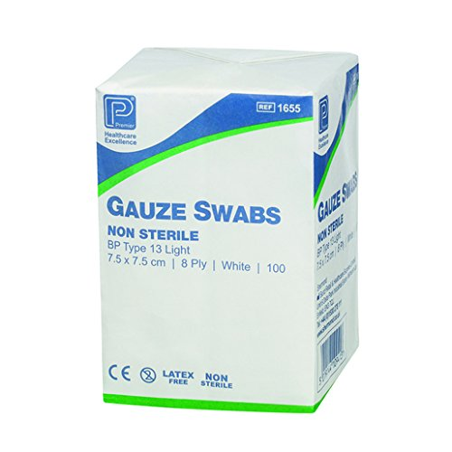 premier-1660-cotton-gauze-swabs-8-ply-10-cm-x-10-cm-white-paper-packs-pack-of-100