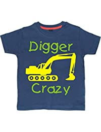 DIGGER CRAZY' Boys Washed Navy T-shirt with Green and Yellow print