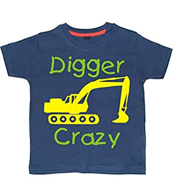 DIGGER CRAZY' 2-3 years Washed Navy T-shirt with Green and Yellow print