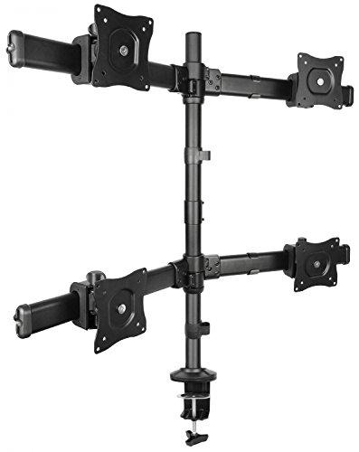 """RICOO Universal Monitor Multimonitor Stand TS6311 Halterung 4 Bildschirme Schwenkbar Neigbar Tischhalterung LCD LED TFT Curved Bildschirmhalterung VESA 75x75 100x100 33-69cm 13""""-27"""" Schwarz"""
