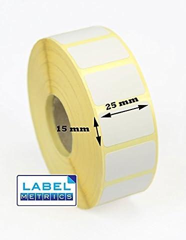Label Metrics - 25mm x 15mm Direct thermal labels for Zebra GK420D, GX420D, GK420T, GX420T, Z6M