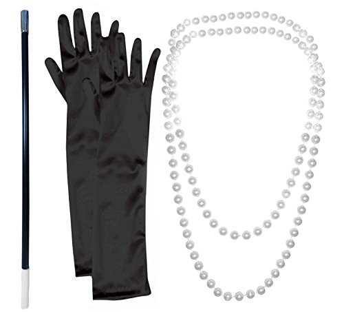 1920er Jahrer Zubehör: Perlen-Halskette mit Zigarettenspitze und schwarze Handschuhe.