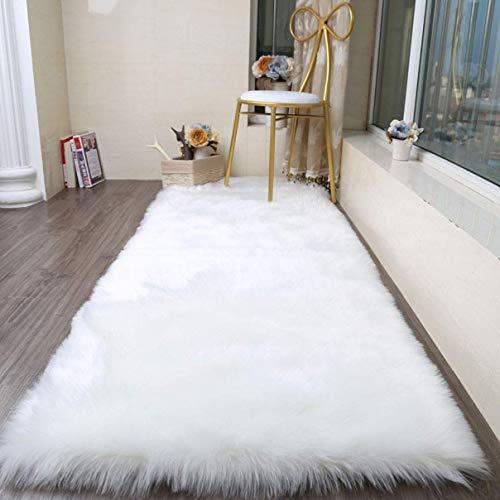 Cumay faux tappetto di pelle di pecora tappeto ,80 x 180 cm, imitazione lana, adatto per tappeto per soggiorno, lunga pelliccia morbida, soffice, tappetino per il letto, divano , (bianco, 80 x 180 cm)