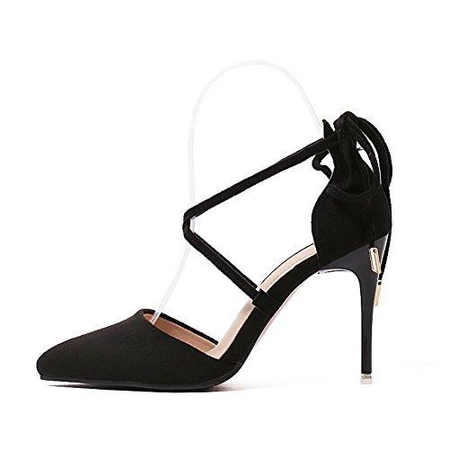 AalarDom Femme à Talon Haut Pointu Lacet Couleur Unie Chaussures Légeres Noir-Sangle Croisée