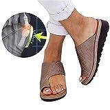Verano Mujer Sandalias cómodos Plataformas Plana Cuero de PU Zapatillas Corrector de juanetes ortopédico Casuales Antideslizante Respirable Zapatos ortopédicos Viaje Verano Playa