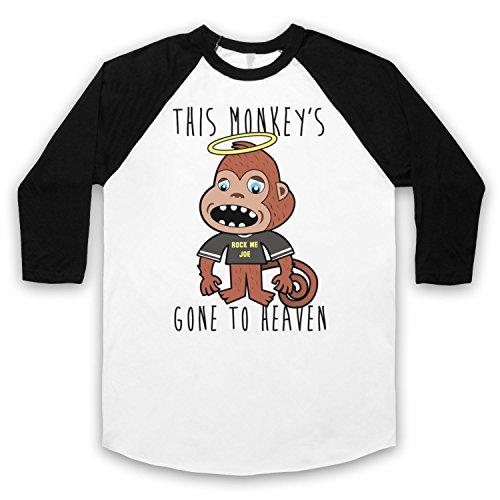 Inspiriert durch Pixies Monkey Gone To Heaven Unofficial 3/4 Hulse Retro Baseball T-Shirt Weis & Schwarz