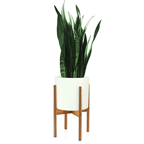 FOX & FERN Mid-Century-Stil Pflanzenständer - Bambus - OHNE 26cm Weißer keramischer Blumentopf