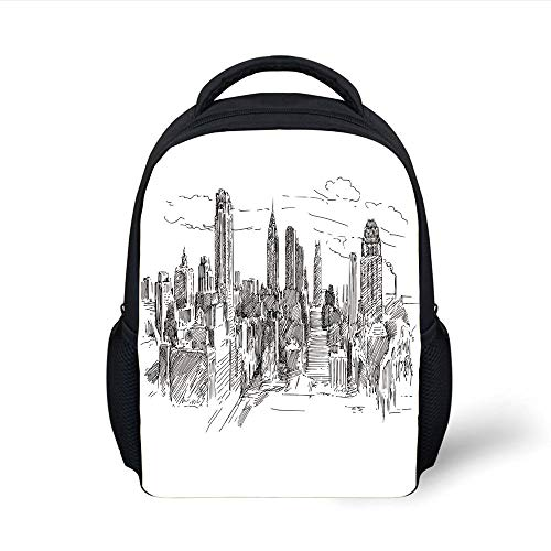 Kids School Backpack York,Hand Drawn NYC Cityscape Tourism Travel Industrial Center Town Modern City Design,Grey White Plain Bookbag Travel Daypack