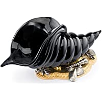 Il Bronzetto Luxury - Cornucopia in cristallo colore nero e base con conchiglie in bronzo dorato e argento antico