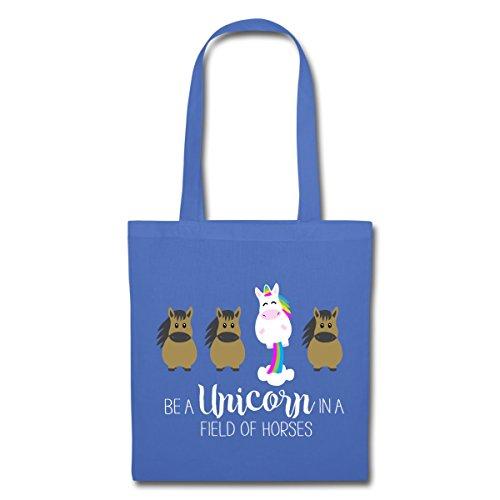Spreadshirt Be A Unicorn Sei Ein Einhorn Statement Stoffbeutel Hellblau