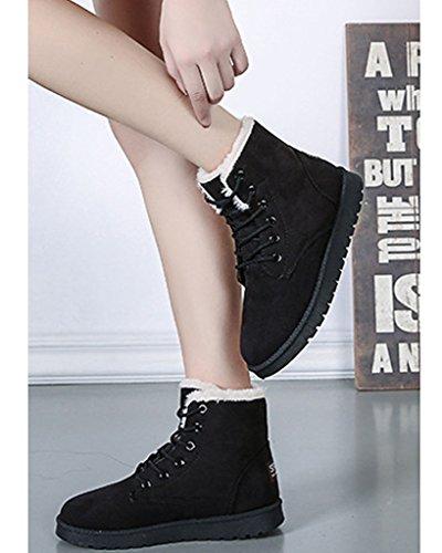 Minetom Bottes pour Femme Hiver Automne Chaudes Bottines Laçage Chaussures Flats Snow Boots Footwear Noir