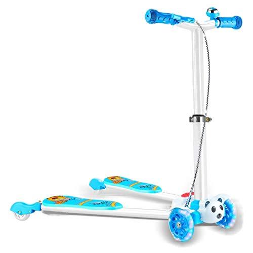 LLSZ Roller for Kinder 4-Rad-Schleppstange Höhenverstellbarer Griff Tretroller Glider Deluxe PU-Blinkräder Breites Deck for Kinder von 5 bis 14 Jahren (Color : Blue)