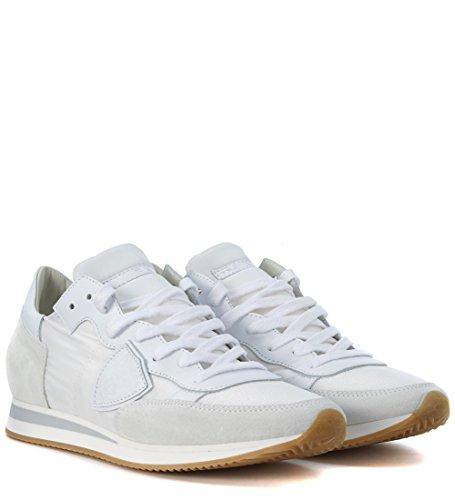 Baskets Philippe Model Tropez en tissu et chamois blanc Blanc