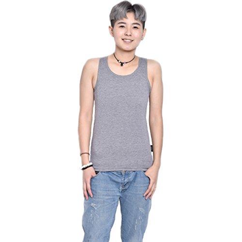 BaronHong Cotton 3 Reihen von Haken Brust Binder Tank Top für Tomboy Trans Lesben (grau, M)