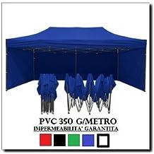 Carpa plegable 3x 6Azul Acero + 4Laterales laterales PVC 350g Metro