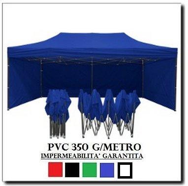Gazebo pieghevole 3x6 blu acciaio + 4 teli laterali pvc 350 g metro