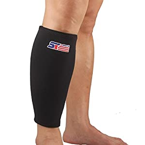 Calf Sleeve by Vitoki | Compression Shin Splint Support Calf Brace for Running, Training, Travel, Cycling, Hiking, Relieves Lower Leg Pain, Best for Recovery, Breathable Neoprene, Black, 1 Piece