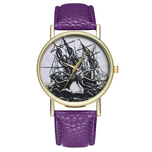 Damen Jugendliche Mädchen Wasserdicht Echtleder Designer Uhren Frauen Leuchtend Mode Elegant Analog Quarz Armbanduhr Weiblich Luxus Bling Kristall Accentted Dial Uhr Lila