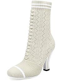 NBWE Calcetines De Lana De Mujer Botas Huecas Sandalias De Tacón Grueso De Punta Estrecha Y Transpirable