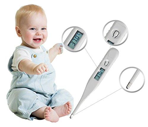 Termometro Digitale per Bambini,NINGSUN Digitale Febbre Misuratore per Termometro Digitale LCD per Bambini e Adulto per Misurazione Temperatura Orale Punta Flessibile Secondi Rapida Lettura (Bianca)