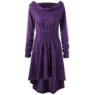 Lazzboy Frauen Kostüme Schnüren Sich Oben mit Kapuze Vintage Pullover High Low Bandage Langes Kleid Mantel(XL,Violett)