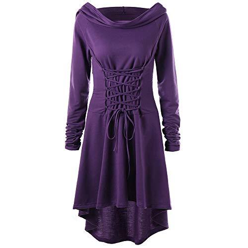 Lazzboy Frauen Kostüme Schnüren Sich Oben mit Kapuze Vintage Pullover High Low Bandage Langes Kleid Mantel(2XL,Violett)