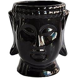 Cabeza de Buda de cerámica maceta macetas para casa jardín, negro