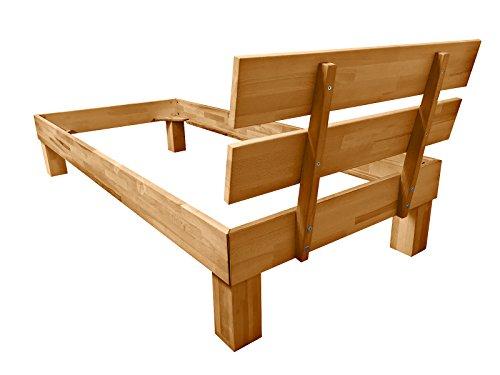 SAM® Massiv-Holzbett Jessica in Wildeiche geölt, Bett mit geteiltem Kopfteil, natürliche Maserung, massive widerstandsfähige Oberfläche in warmem Braunton, 140 x 200 cm - 4