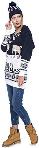 Weihnachtspulli Christmas Sweater Damen Sweatshirt Pullover Merry Christmas Rentier Weihnachten Pulli Elf Blau