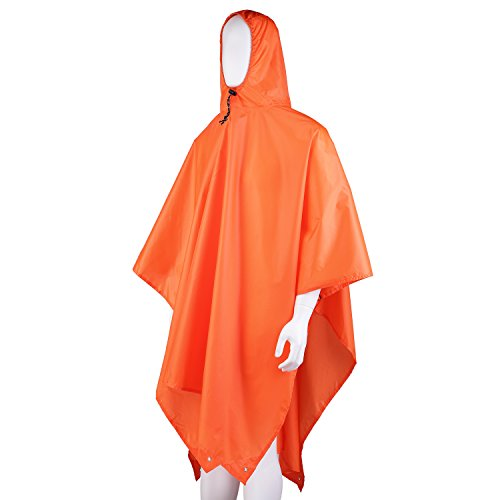 OUTAD 3 in1 Regenmantel Poncho, Matte, Rucksack-Abdeckung (Orange)